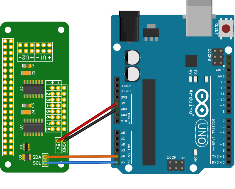 ADC Pi connected to an Arduino Uno