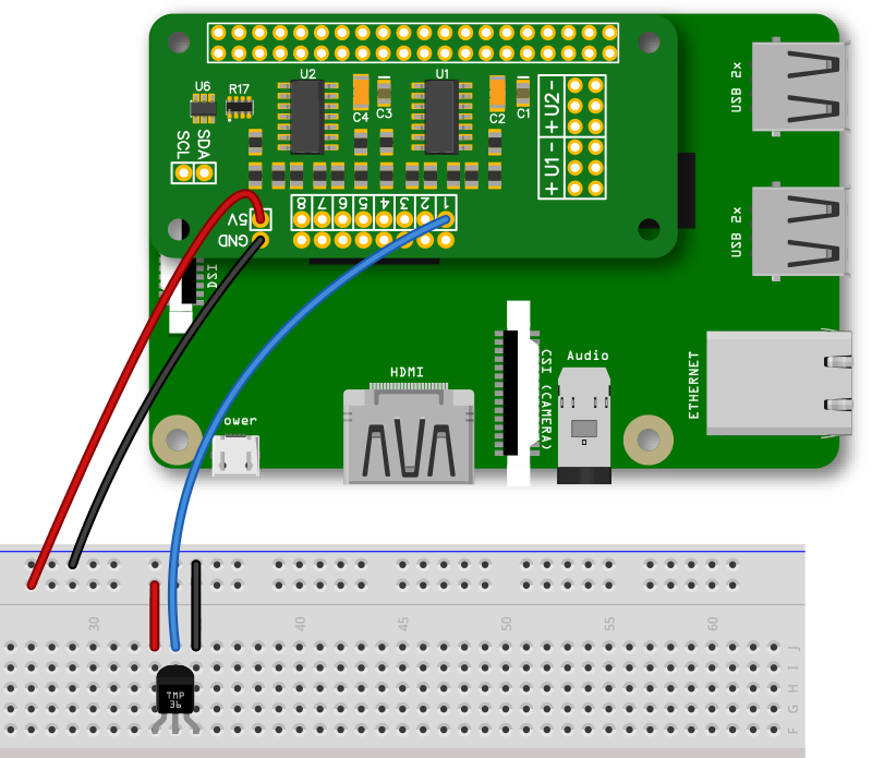 ADC Pi with TMP36 Temperature Sensor