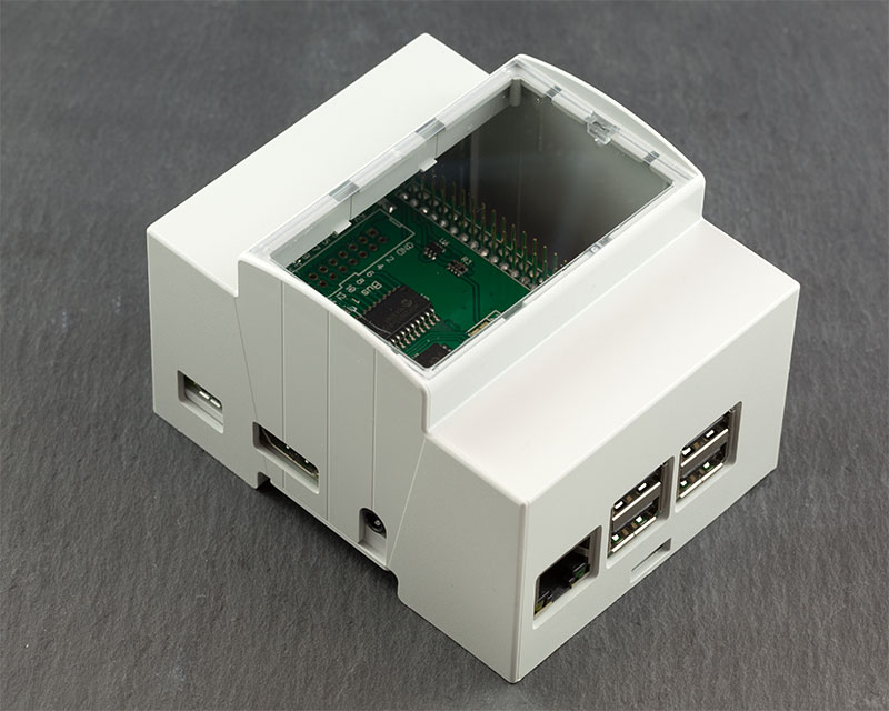 Raspberry Pi B+, Pi 2 B and Pi 3 Model B DIN Rail Modulbox Enclosure closed