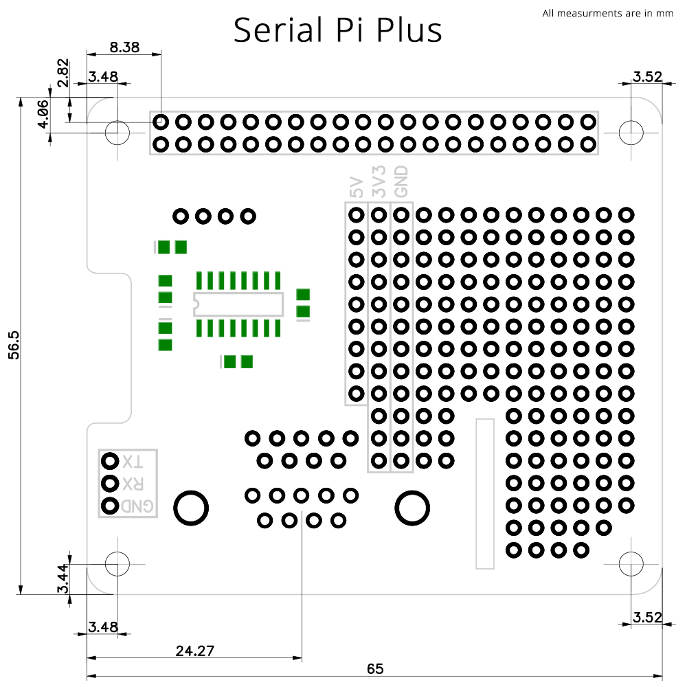 RS232 serial interface for the Raspberry Pi B+